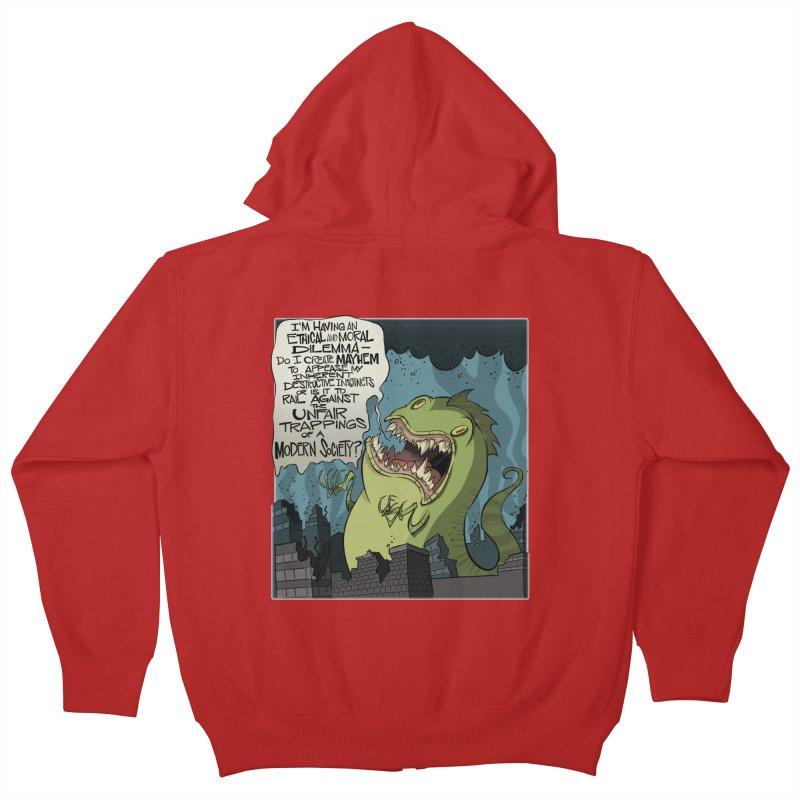 Existential Godzilla Kids Zip-Up Hoody by westinchurch's Artist Shop