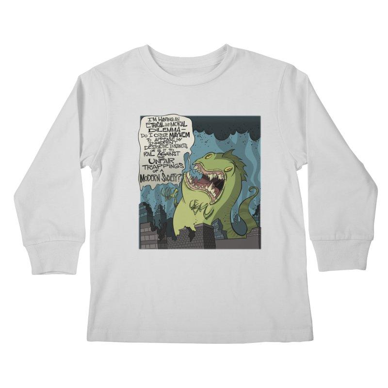 Existential Godzilla Kids Longsleeve T-Shirt by westinchurch's Artist Shop