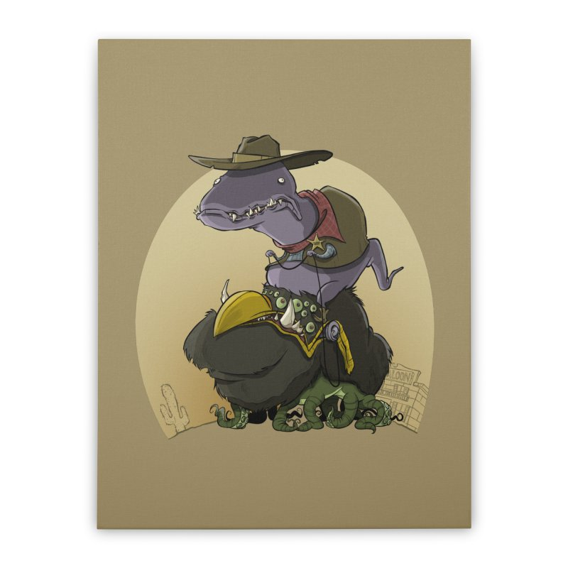 Jurassic Sheriff Home Stretched Canvas by westinchurch's Artist Shop