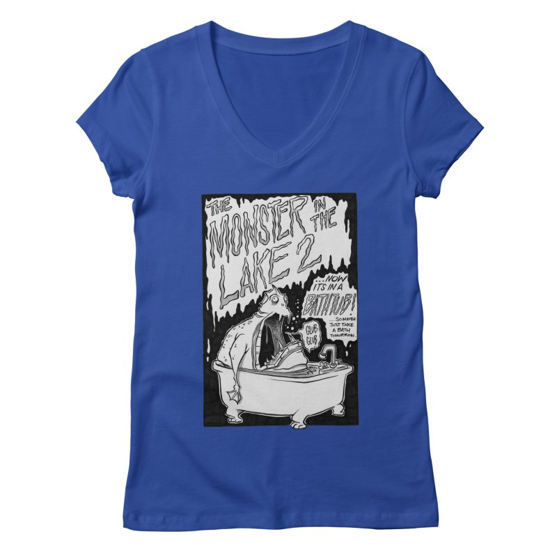 Monster in the Lake 2 Women's V-Neck by westinchurch's Artist Shop