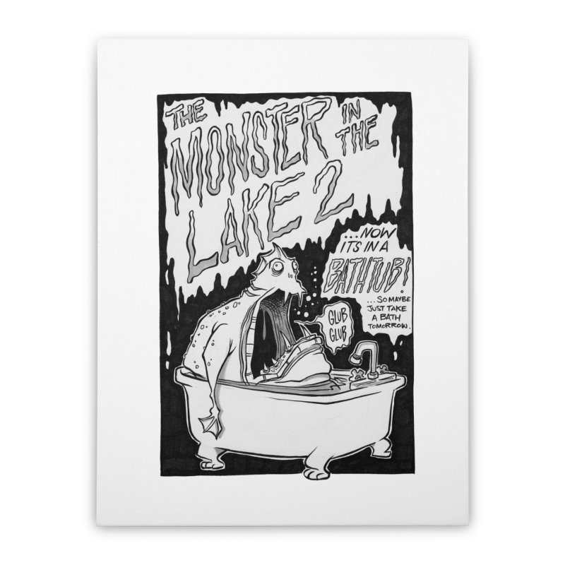 Monster in the Lake 2 Home Stretched Canvas by westinchurch's Artist Shop