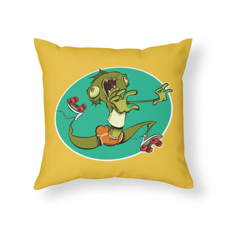 Rollerskating Fish Man! Home Throw Pillow by westinchurch's Artist Shop