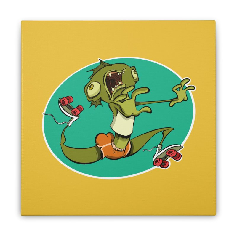 Rollerskating Fish Man! Home Stretched Canvas by westinchurch's Artist Shop