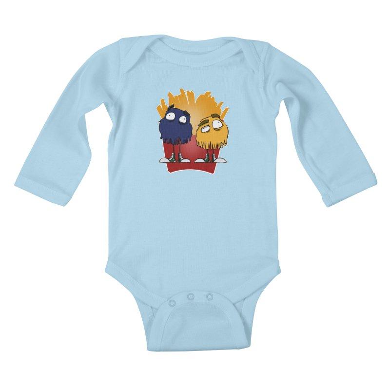 Fry Guys Kids Baby Longsleeve Bodysuit by westinchurch's Artist Shop