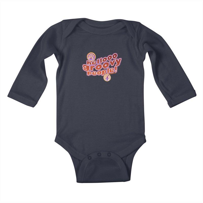 Hello Groovy People! Kids Baby Longsleeve Bodysuit by Westoly