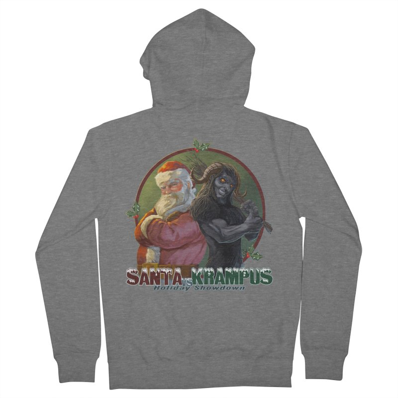 Santa vs Krampus Women's French Terry Zip-Up Hoody by weswongwithyou's Artist Shop