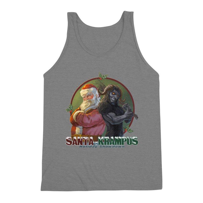 Santa vs Krampus Men's Triblend Tank by weswongwithyou's Artist Shop