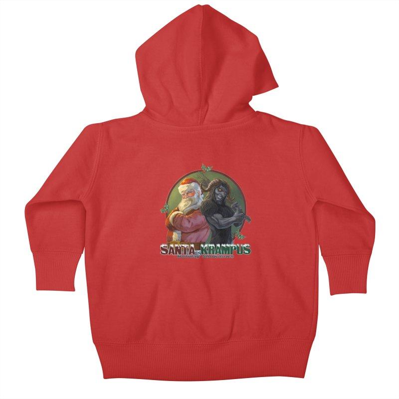Santa vs Krampus Kids Baby Zip-Up Hoody by weswongwithyou's Artist Shop