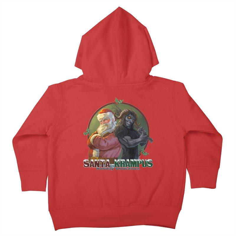 Santa vs Krampus Kids Toddler Zip-Up Hoody by weswongwithyou's Artist Shop