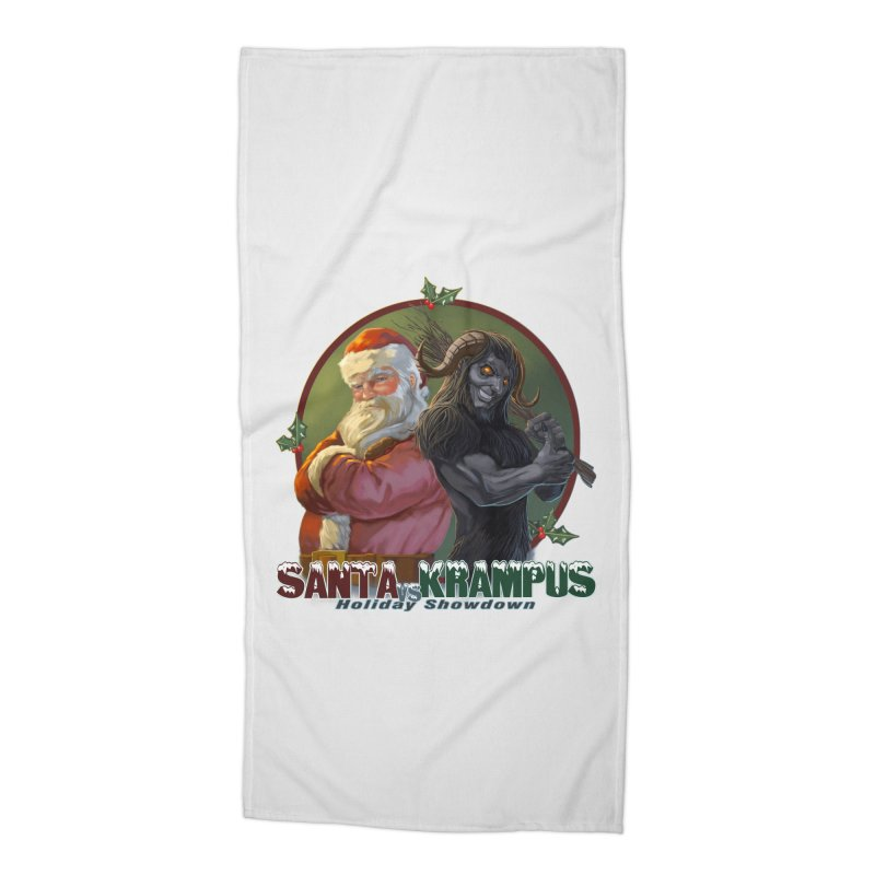 Santa vs Krampus Accessories Beach Towel by weswongwithyou's Artist Shop