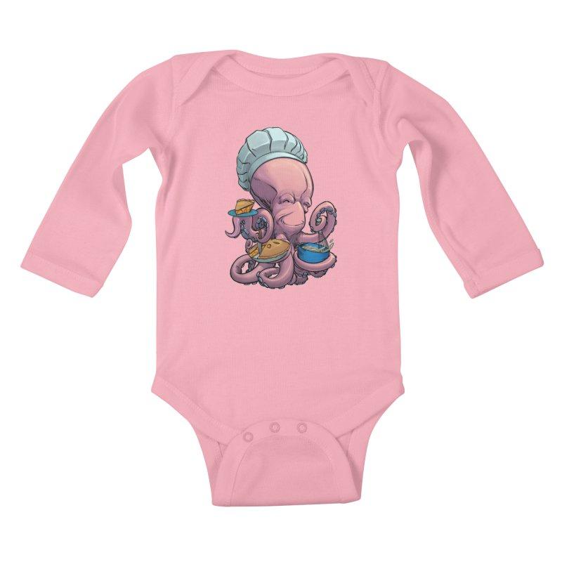 Octopie Kids Baby Longsleeve Bodysuit by weswongwithyou's Artist Shop