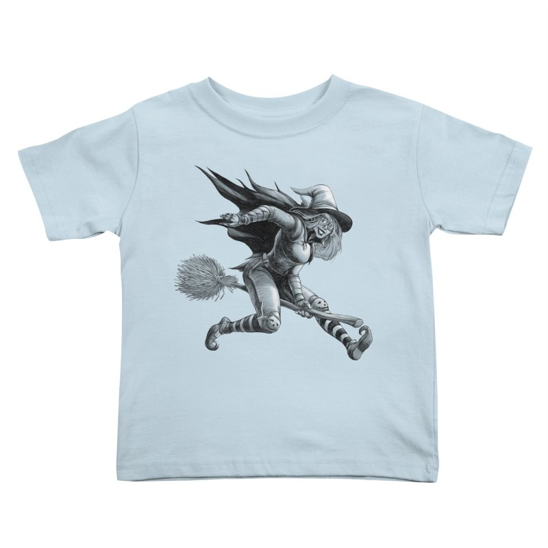 Racing Witch Kids Toddler T-Shirt by weswongwithyou's Artist Shop