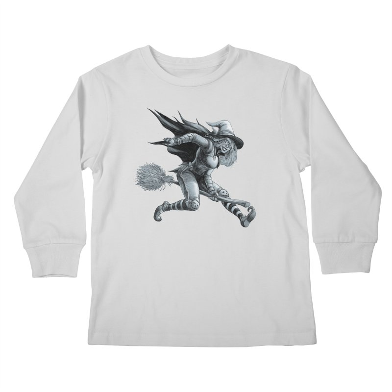 Racing Witch Kids Longsleeve T-Shirt by weswongwithyou's Artist Shop