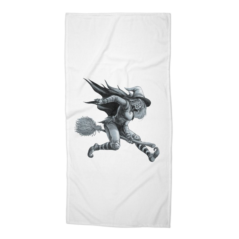 Racing Witch Accessories Beach Towel by weswongwithyou's Artist Shop