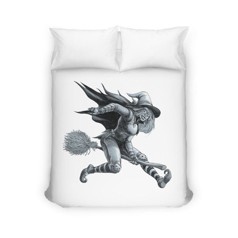 Racing Witch Home Duvet by weswongwithyou's Artist Shop