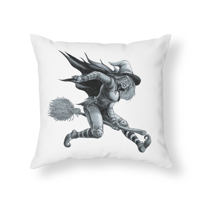 Racing Witch Home Throw Pillow by weswongwithyou's Artist Shop
