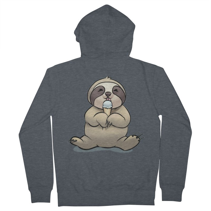 Sloth with Ice Cream Women's French Terry Zip-Up Hoody by weswongwithyou's Artist Shop