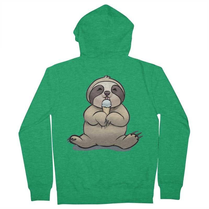Sloth with Ice Cream Men's Zip-Up Hoody by weswongwithyou's Artist Shop