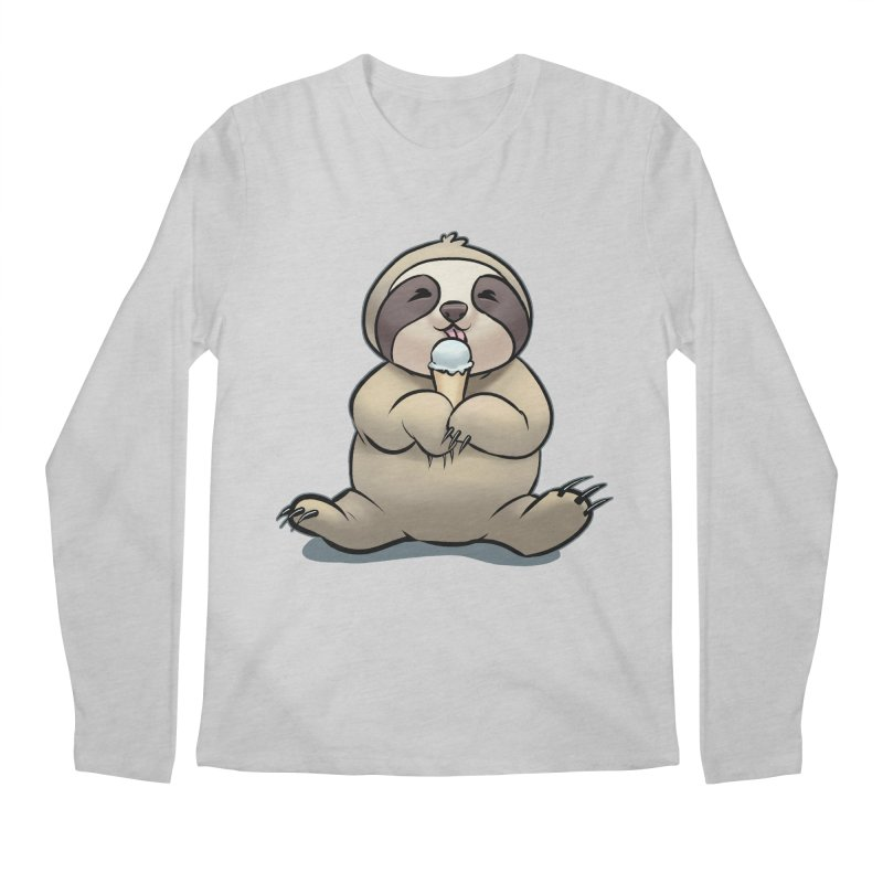 Sloth with Ice Cream Men's Longsleeve T-Shirt by weswongwithyou's Artist Shop