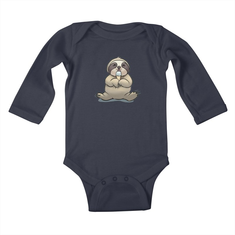 Sloth with Ice Cream Kids Baby Longsleeve Bodysuit by weswongwithyou's Artist Shop