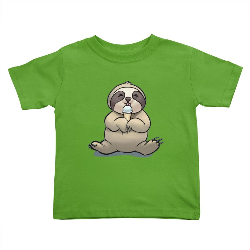 Sloth with Ice Cream Kids Toddler T-Shirt by weswongwithyou's Artist Shop