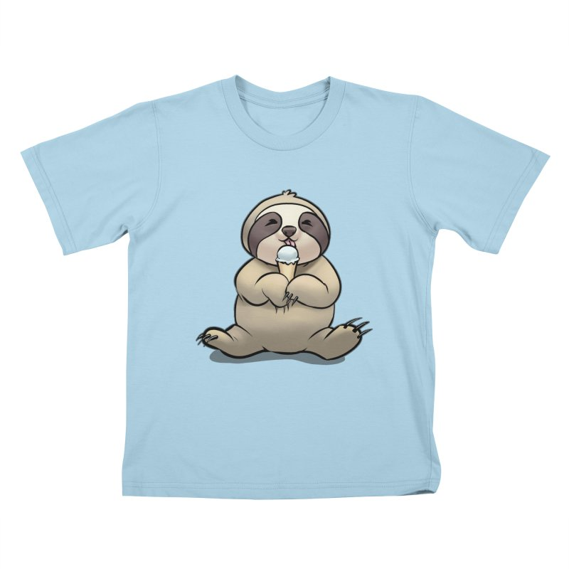 Sloth with Ice Cream Kids T-Shirt by weswongwithyou's Artist Shop