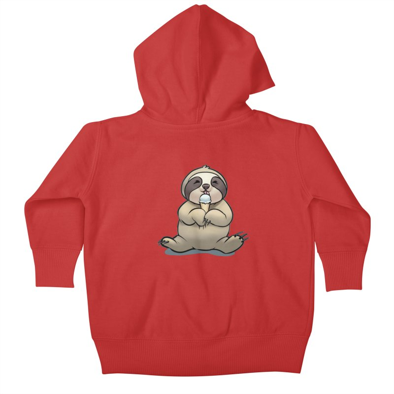 Sloth with Ice Cream Kids Baby Zip-Up Hoody by weswongwithyou's Artist Shop