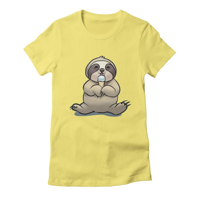 Sloth with Ice Cream Women's Fitted T-Shirt by weswongwithyou's Artist Shop