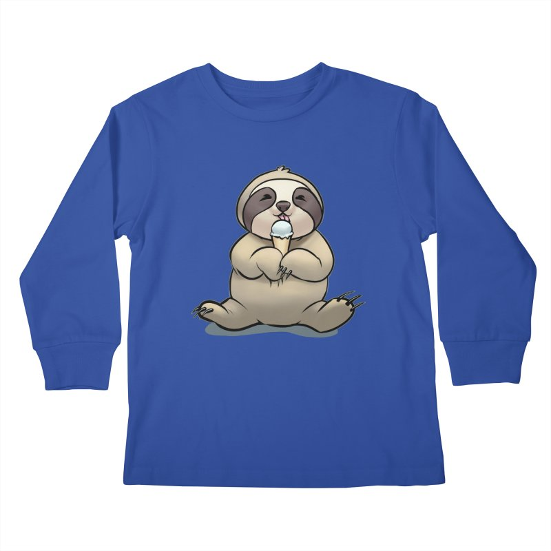 Sloth with Ice Cream Kids Longsleeve T-Shirt by weswongwithyou's Artist Shop