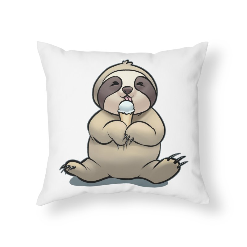 Sloth with Ice Cream Home Throw Pillow by weswongwithyou's Artist Shop