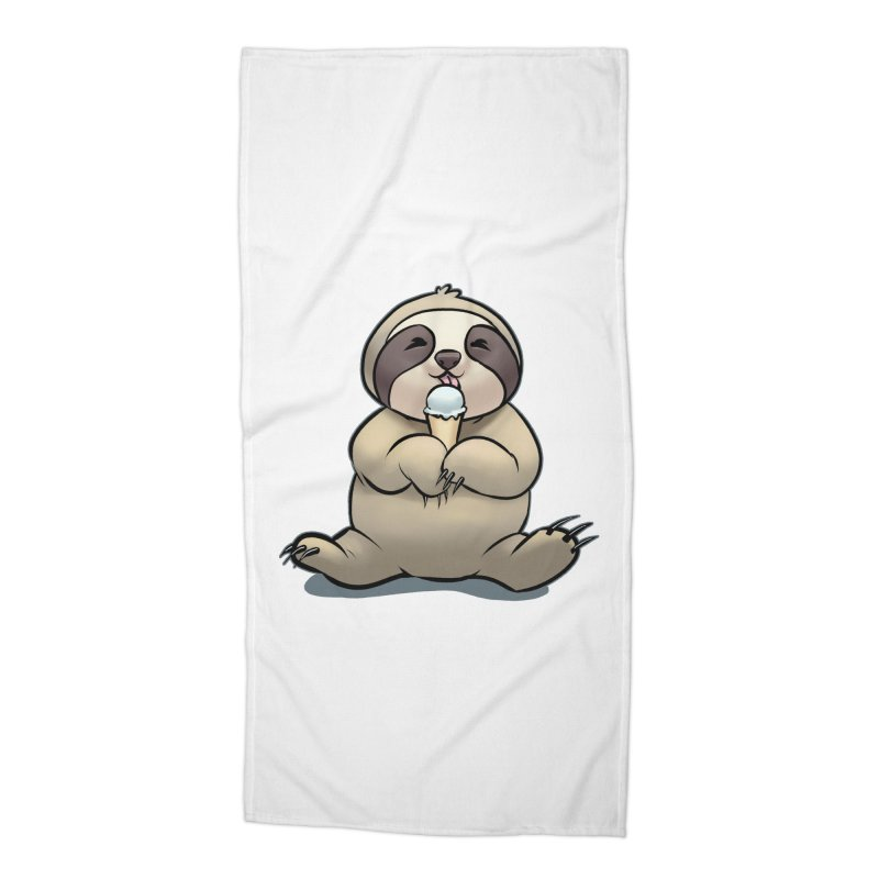 Sloth with Ice Cream Accessories Beach Towel by weswongwithyou's Artist Shop