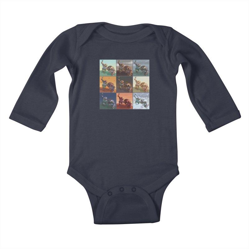 Sloth Battle Kids Baby Longsleeve Bodysuit by weswongwithyou's Artist Shop