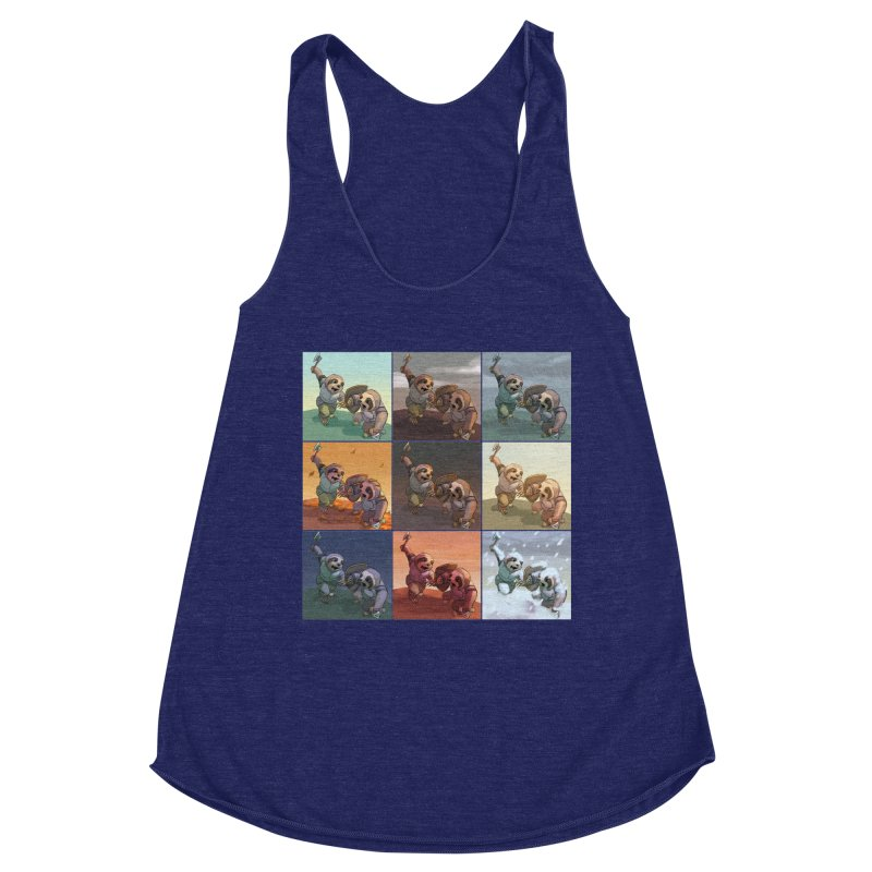 Sloth Battle Women's Racerback Triblend Tank by weswongwithyou's Artist Shop