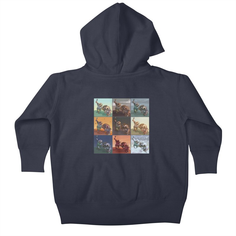Sloth Battle Kids Baby Zip-Up Hoody by weswongwithyou's Artist Shop