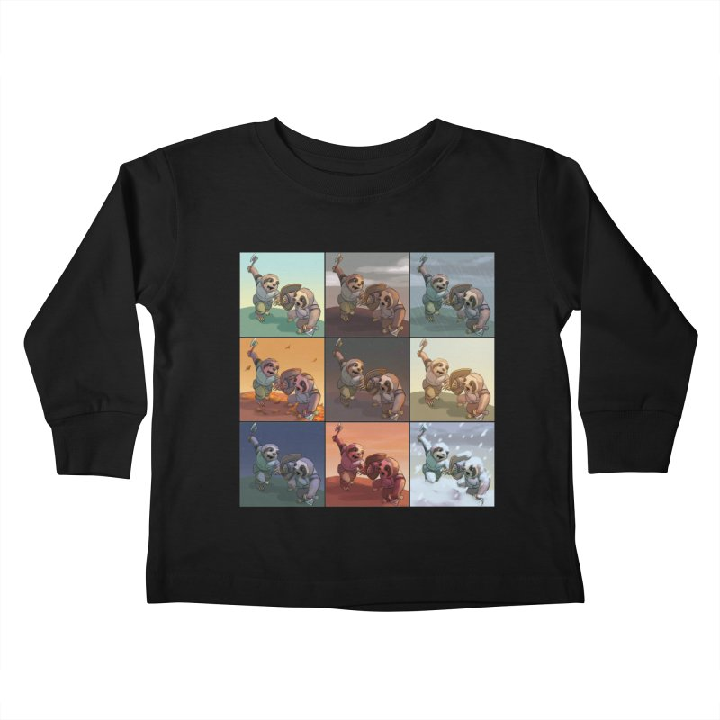 Sloth Battle Kids Toddler Longsleeve T-Shirt by weswongwithyou's Artist Shop