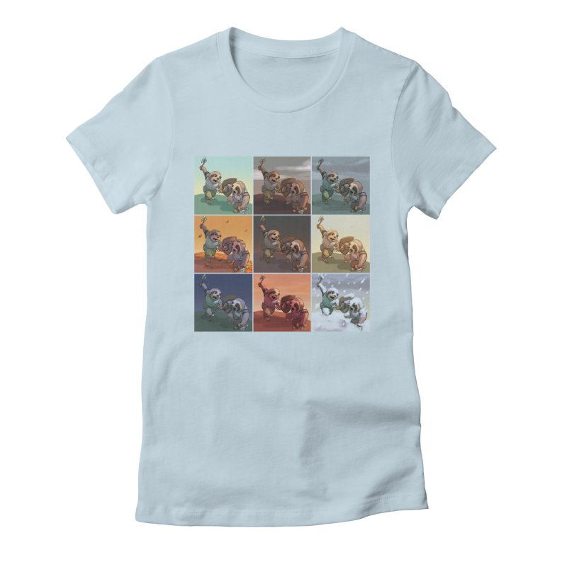 Sloth Battle Women's Fitted T-Shirt by weswongwithyou's Artist Shop