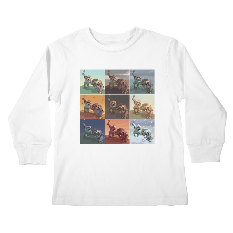 Sloth Battle Kids Longsleeve T-Shirt by weswongwithyou's Artist Shop