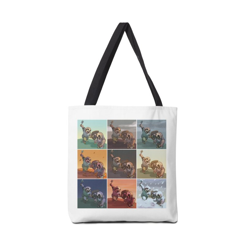 Sloth Battle Accessories Tote Bag Bag by weswongwithyou's Artist Shop