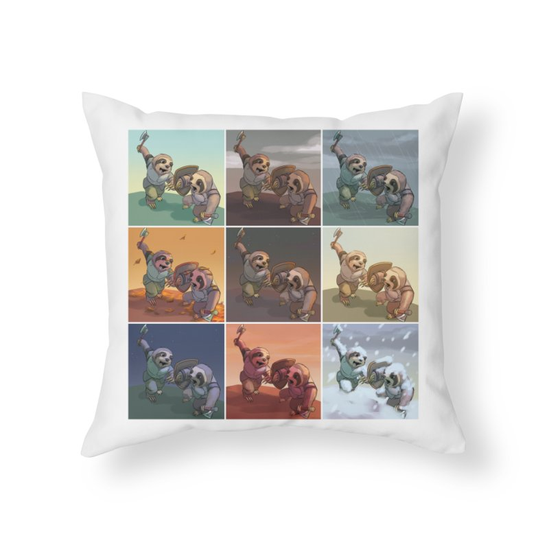 Sloth Battle Home Throw Pillow by weswongwithyou's Artist Shop