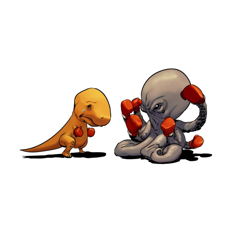T-Rex vs Octopus Kids Toddler T-Shirt by weswongwithyou's Artist Shop
