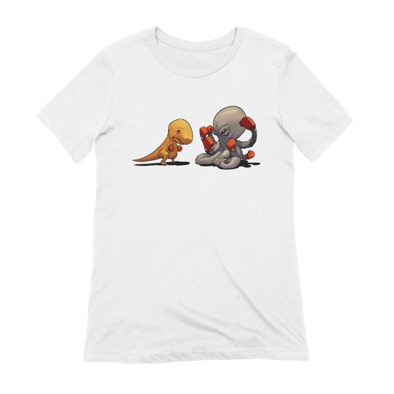 T-Rex vs Octopus Women's Extra Soft T-Shirt by weswongwithyou's Artist Shop