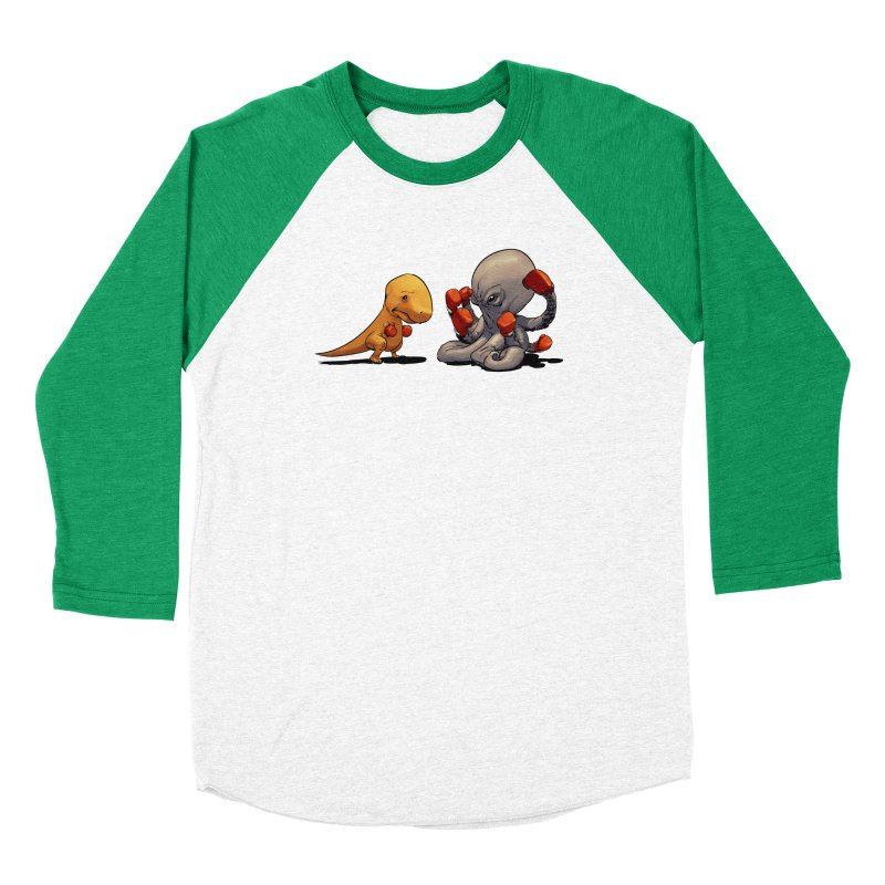 T-Rex vs Octopus Men's Baseball Triblend Longsleeve T-Shirt by weswongwithyou's Artist Shop