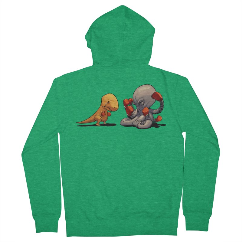 T-Rex vs Octopus Women's Zip-Up Hoody by weswongwithyou's Artist Shop