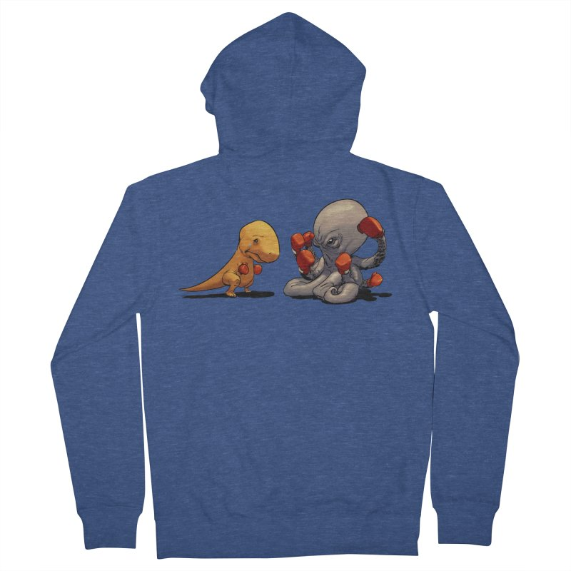 T-Rex vs Octopus Women's French Terry Zip-Up Hoody by weswongwithyou's Artist Shop