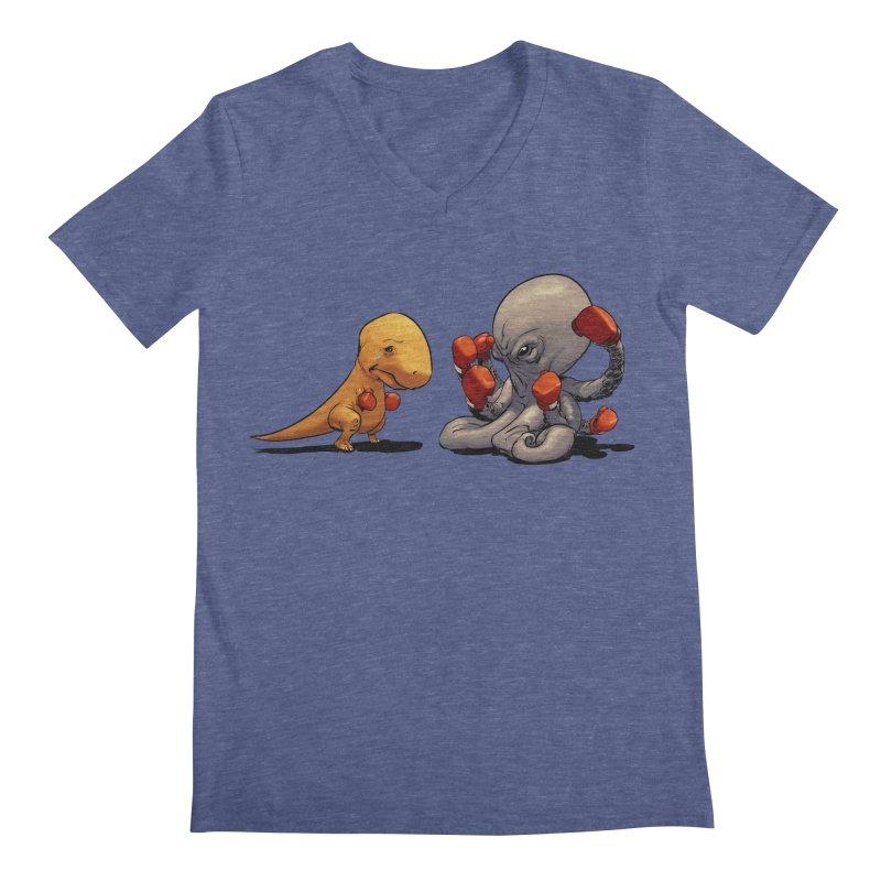 T-Rex vs Octopus Men's Regular V-Neck by weswongwithyou's Artist Shop
