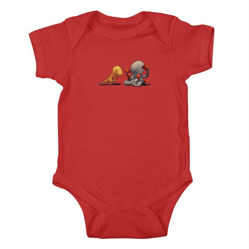 T-Rex vs Octopus Kids Baby Bodysuit by weswongwithyou's Artist Shop