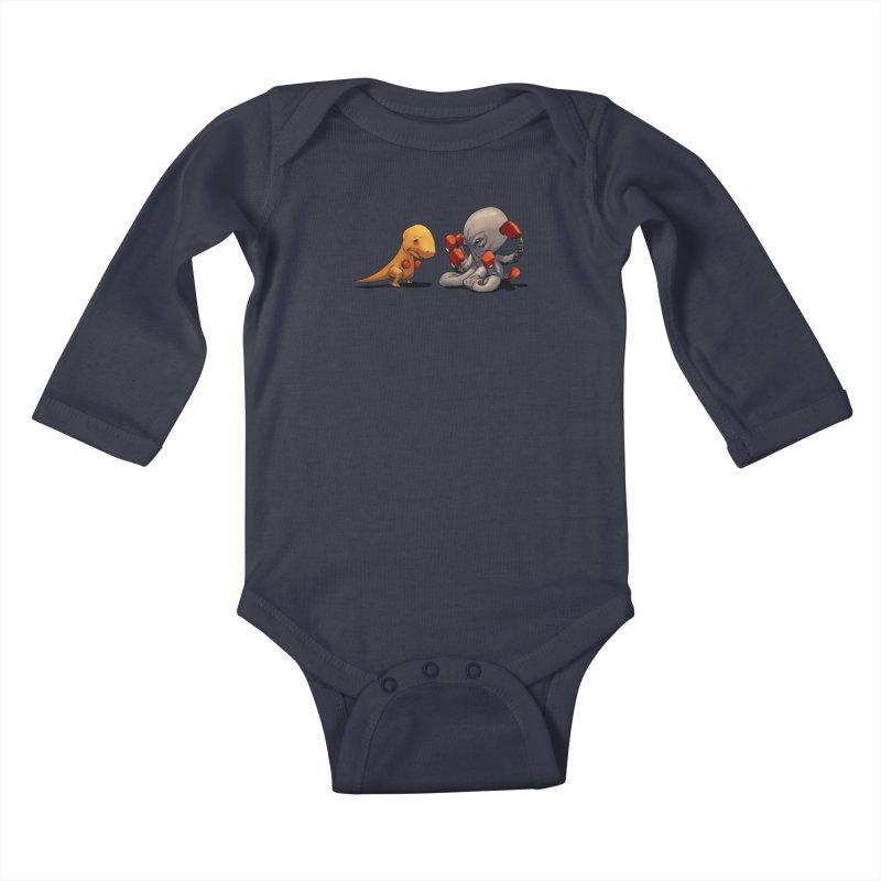 T-Rex vs Octopus Kids Baby Longsleeve Bodysuit by weswongwithyou's Artist Shop