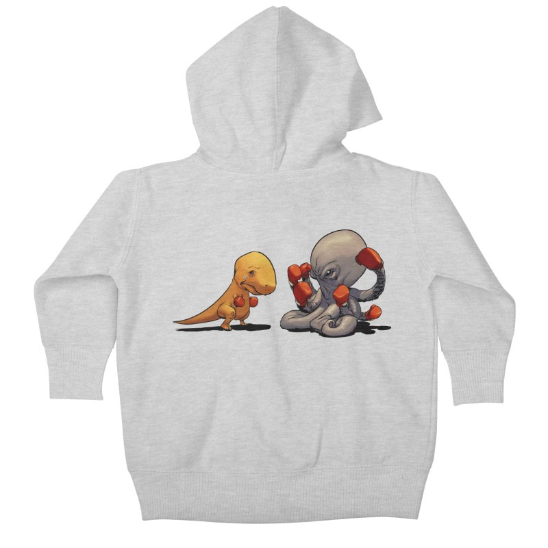 T-Rex vs Octopus Kids Baby Zip-Up Hoody by weswongwithyou's Artist Shop