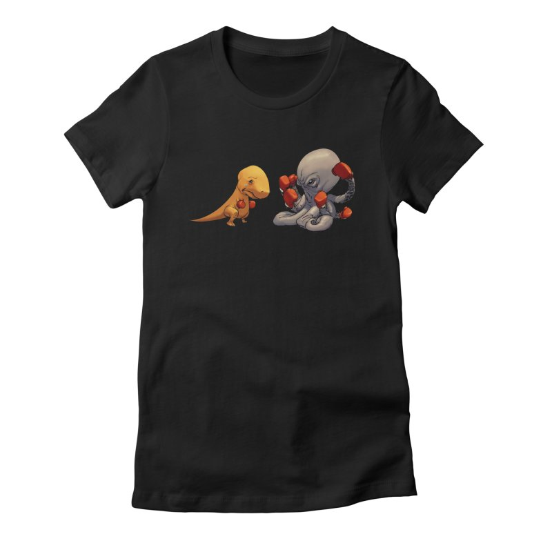 T-Rex vs Octopus Women's Fitted T-Shirt by weswongwithyou's Artist Shop