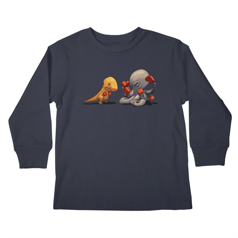 T-Rex vs Octopus Kids Longsleeve T-Shirt by weswongwithyou's Artist Shop